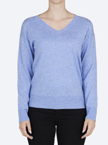 Yeltuor - BRIDGE AND LORD - Knitwear - BRIDGE AND LORD MERINO/CASHMERE FASHION V NECK PULLOVER - SKY BLUE -  S