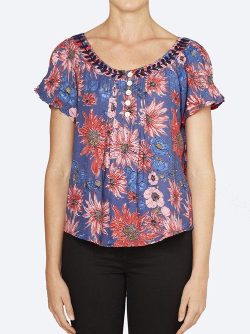 Yeltuor - CAKE - Tops - CAKE MARILYN TOP - FLOWER BURST PRINT -  XS