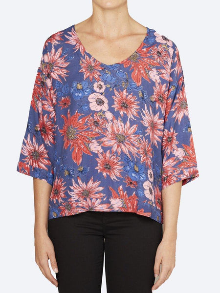 Yeltuor - CAKE - Tops - CAKE VICKY V NECK TOP - FLOWER BURST PRINT -  XS