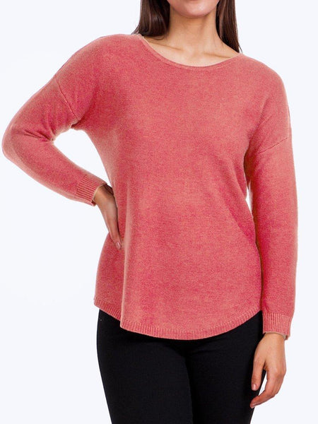 Yeltuor - CAROLINE K MORGAN PTY LTD - Tops - CAROLINE K MORGAN LONG SLEEVE PULLOVER - CORAL -  8