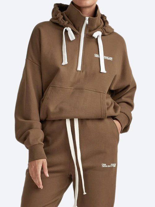 Yeltuor - CAMILLA AND MARC - Tops - CAMILLA AND MARC C&M LOGAN 2.0 HOODIE - DARK KHAKI -  6