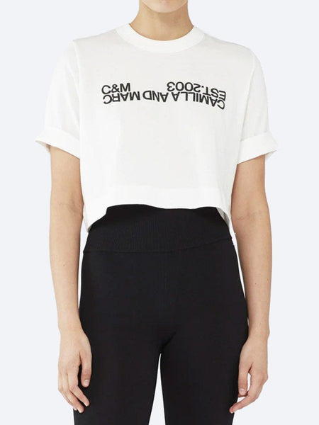 Yeltuor - CAMILLA AND MARC - Tops - CAMILLA AND MARC C&M AMELIA CROP LOGO TEE - WHITE -  6