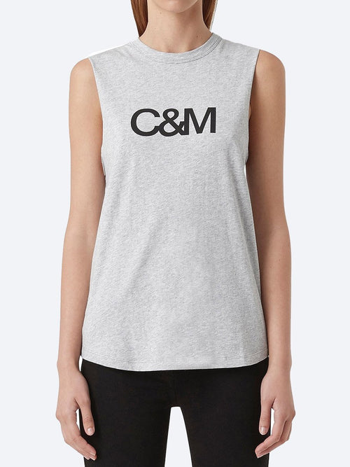 Yeltuor - CAMILLA AND MARC - Tops - CAMILLA AND MARC C&M CLASSIC LOGO TANK - GREY/BLACK -  6