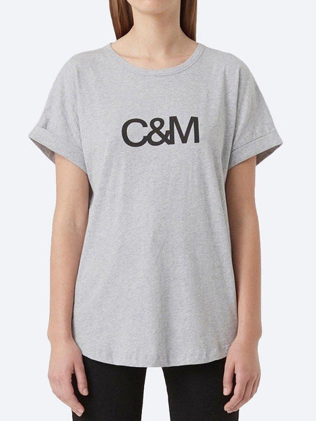 Yeltuor - CAMILLA AND MARC - Tops - C&M by CAMILLA AND MARC HUNTINGTON LOGO SLUB TEE - GREY MARLE -  6