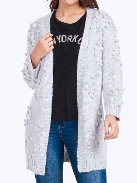 Yeltuor - CAROLINE K MORGAN PTY LTD - Knitwear - CAROLINE MORGAN LONGLINE POM POM KNIT CARDIGAN - LIGHT GREY -  SM