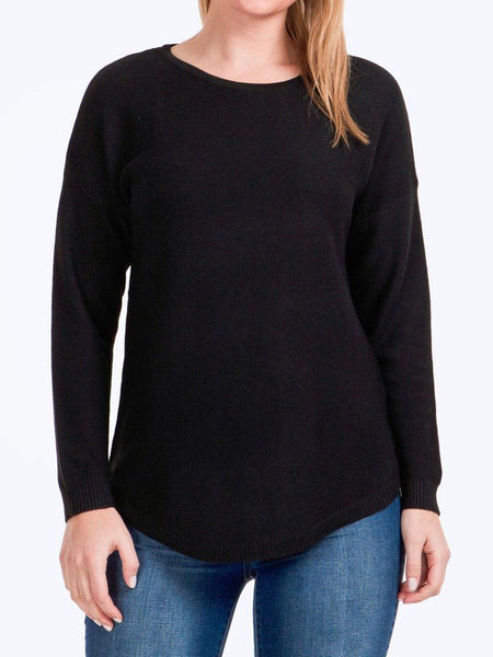 Yeltuor - CAROLINE K MORGAN PTY LTD - Tops - CAROLINE K MORGAN LONG SLEEVE PULLOVER - Black -  8