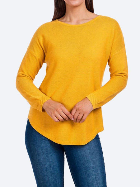 Yeltuor - CAROLINE K MORGAN PTY LTD - Tops - CAROLINE K MORGAN LONG SLEEVE PULLOVER - MUSTARD -  8