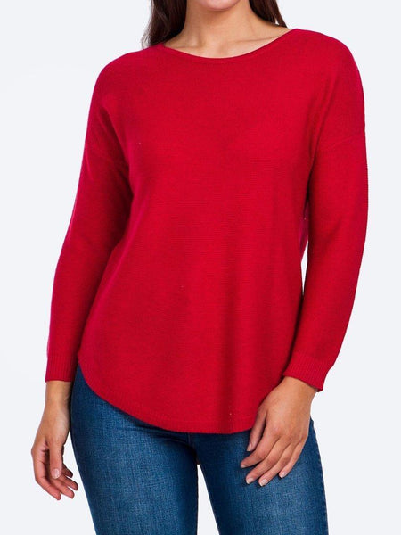Yeltuor - CAROLINE K MORGAN PTY LTD - Tops - CAROLINE K MORGAN LONG SLEEVE PULLOVER - RED -  8