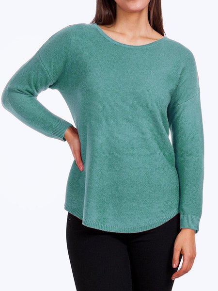 Yeltuor - CAROLINE K MORGAN PTY LTD - Tops - CAROLINE K MORGAN LONG SLEEVE PULLOVER - SAGE -  8