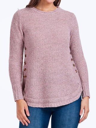 Yeltuor - CAROLINE K MORGAN PTY LTD - Knitwear - CAROLINE MORGAN BUTTON DETAIL JUMPER - BLUSH -  8