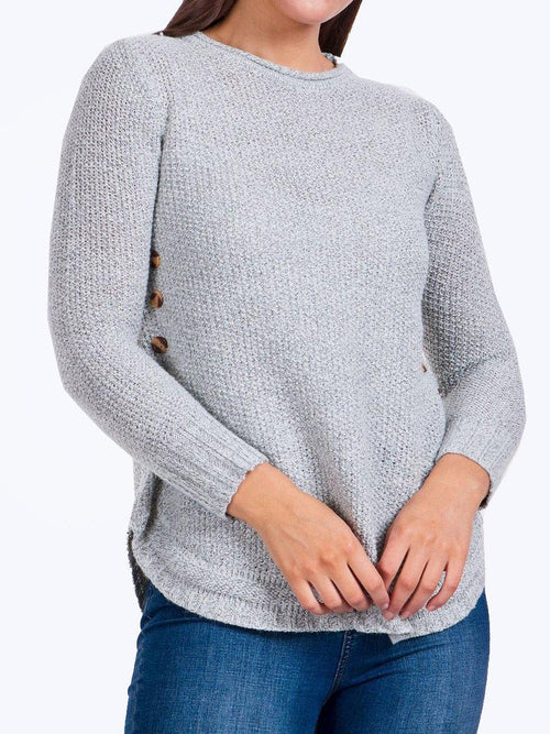 Yeltuor - CAROLINE K MORGAN PTY LTD - Knitwear - CAROLINE MORGAN BUTTON DETAIL JUMPER - SILVER -  8