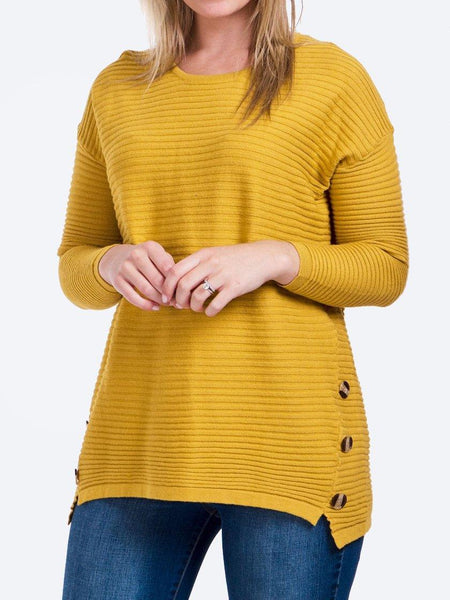Yeltuor - CAROLINE K MORGAN PTY LTD - Knitwear - CAROLINE K MORGAN BUTTON DETAIL RIB JUMPER - MUSTARD -  8