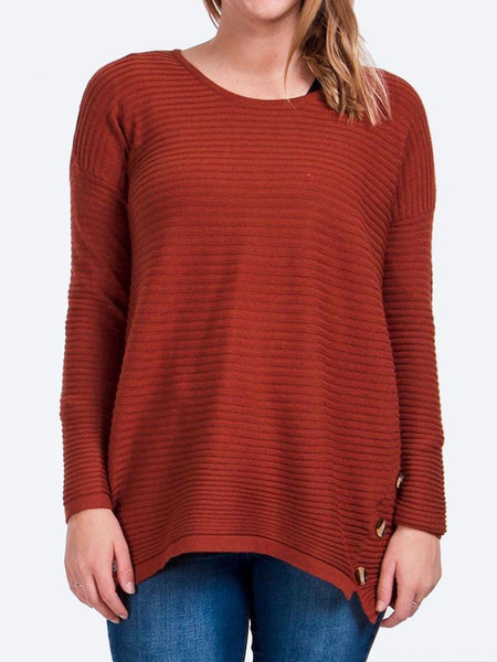 Yeltuor - CAROLINE K MORGAN PTY LTD - Knitwear - CAROLINE K MORGAN BUTTON DETAIL RIB JUMPER - RUST -  8