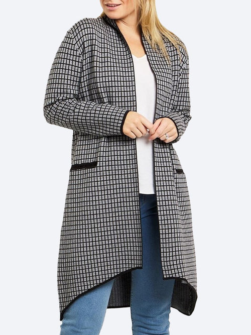 CAROLINE K MORGAN CHECK KNIT CARDI