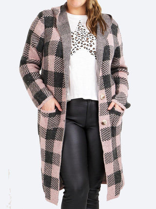 CAROLINE K MORGAN CHECK HOODED CARDI