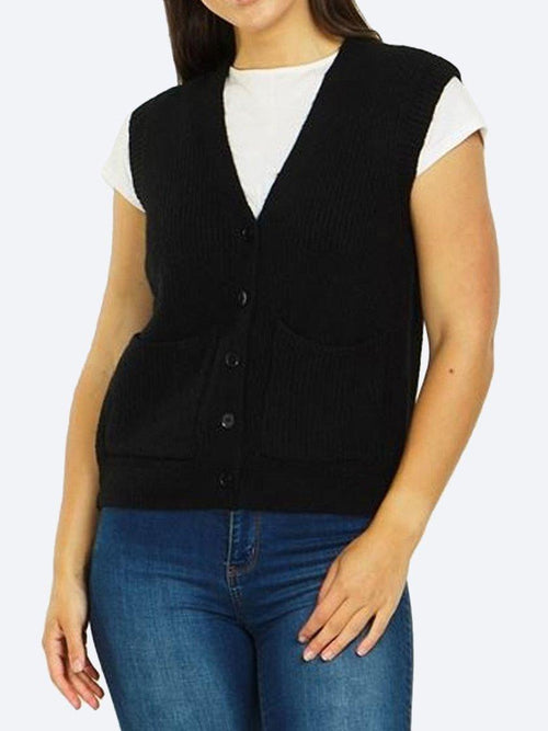CAROLINE K MORGAN SLEEVELESS KNITTED VEST