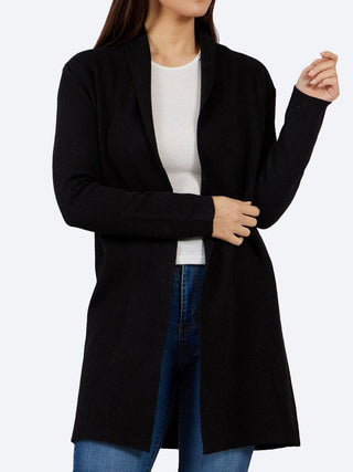 Yeltuor - CAROLINE K MORGAN PTY LTD - Knitwear - CAROLINE MORGAN EDGE TO EDGE CARDIGAN - Black -  8