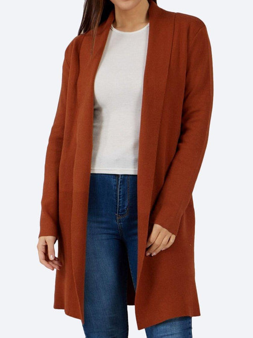 Yeltuor - CAROLINE K MORGAN PTY LTD - Knitwear - CAROLINE MORGAN EDGE TO EDGE CARDIGAN - RUST -  8