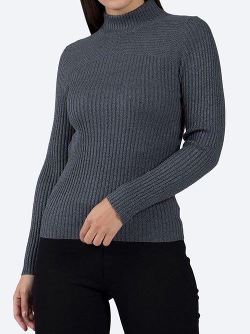 Yeltuor - CAROLINE K MORGAN PTY LTD - Knitwear - CAROLINE MORGAN RIBBED POLO NECK KNIT TOP - DARK GREY -  8
