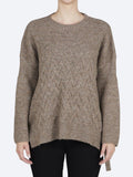 Yeltuor - CONCHITA - Knitwear - CONCHITA SIDE TIE CABLE KNIT - MOCHA -  XS-S