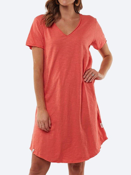 Yeltuor - ELM - Dresses - ELM MARY TEXTURED TEE DRESS - CORAL -  8