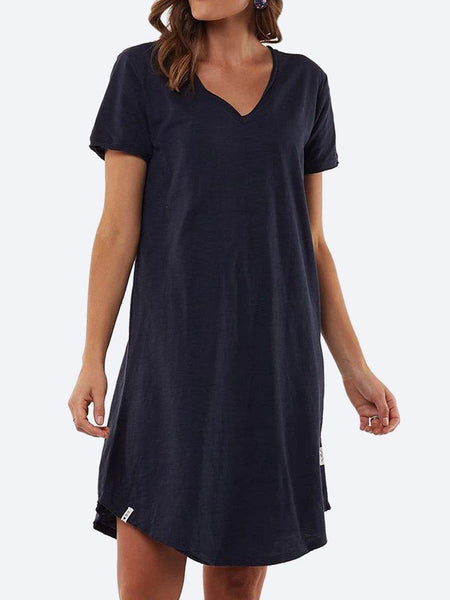 Yeltuor - ELM - Dresses - ELM MARY TEXTURED TEE DRESS - DARK SAPPHIRE -  8