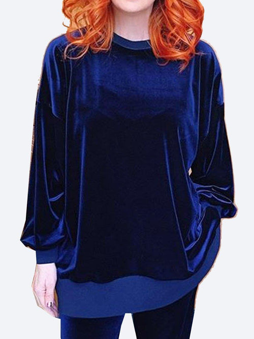 Yeltuor - EMPIRE ROSE - Tops - EMPIRE ROSE LUXE VELVET SWEAT TOP - NAVY -  XS