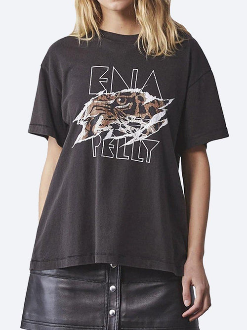 Yeltuor - ENA PELLY - Tops - ENA PELLY TIGERS EYE TEE - WASHED BLACK -  6
