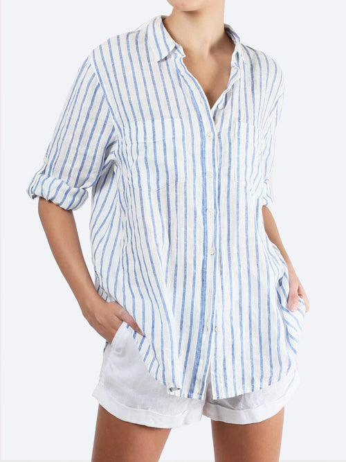 Yeltuor - HUT&CO - Tops - HUT CLOTHING LINEN BOYFIREND SHIRT STRIPE -  -