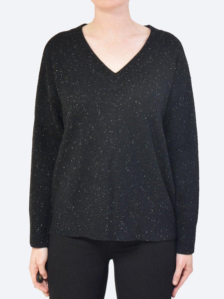 Yeltuor - JAMES MELBOURNE - Knitwear - JAMES MELBOURNE CASHMERE/WOOL RIB V-NECK - Black -  XS