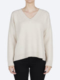 Yeltuor - JAMES MELBOURNE - Knitwear - JAMES MELBOURNE CASHMERE/WOOL RIB V-NECK - NOUGAT -  XS