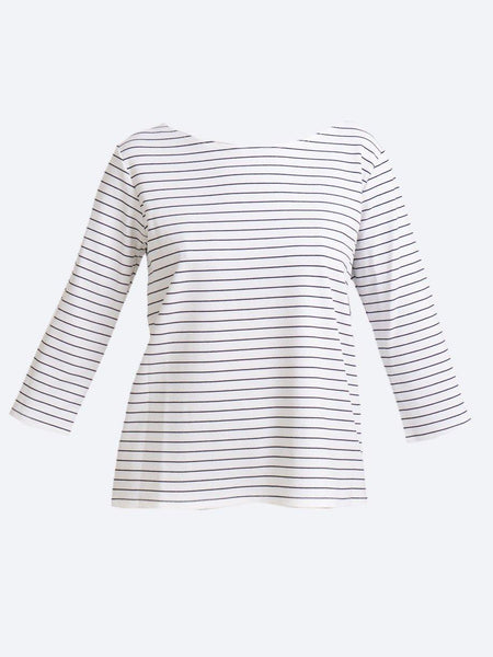 Yeltuor - MELA PURDIE - Tops - MELA PURDIE QUAY STRIPE RELAXED BOAT NECK - WHITE/BLACK -  8