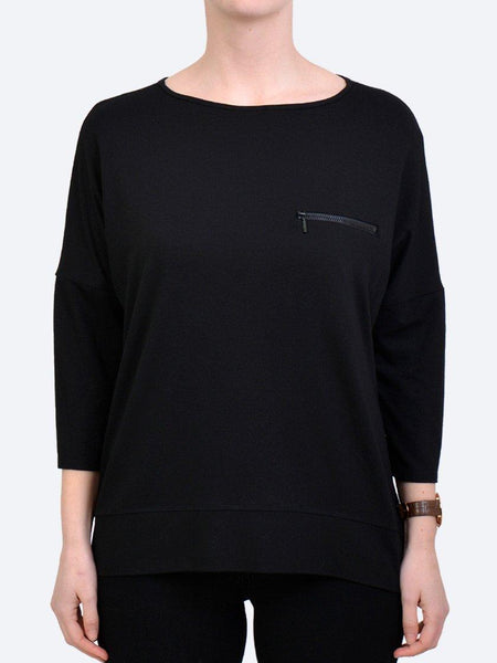 Yeltuor - MELA PURDIE - Tops - MELA PURDIE ZIP POCKET SWEATER - BLACK -  8
