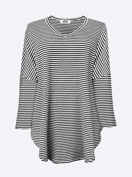 Yeltuor - MELA PURDIE - Tops - MELA PURDIE FLOATING SLIDE TOP - NAVY/WHITE STRIPE -  -