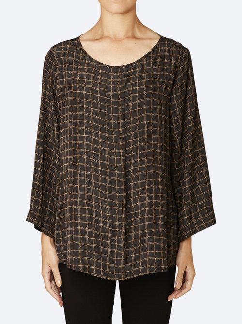 Yeltuor - MELA PURDIE - Tops - MELA PURDIE PLEAT CHECK TOP -  -
