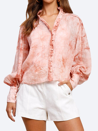Yeltuor - MINISTRY OF STYLE - Tops - MINISTRY OF STYLE HIGH TIDE BLOUSE - STONE ROSE -  6