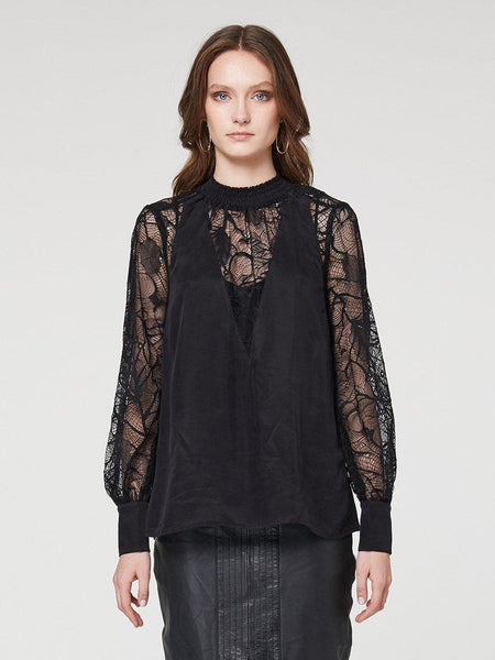 Yeltuor - ONCE WAS - SHIRTS - ONCE WAS GOLDSMITH SHIRRED NECK LACE BLOUSE - BLACK -  1