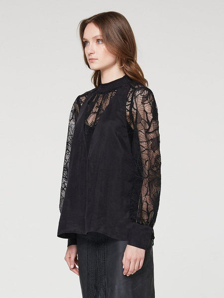 Yeltuor - ONCE WAS - SHIRTS - ONCE WAS GOLDSMITH SHIRRED NECK LACE BLOUSE -  -