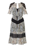 Yeltuor - ONCE WAS - Dresses - ONCE WAS BOLDT CAPE SLV LACE INSERT DRESS -  -