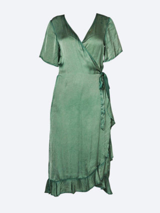 Yeltuor - ONE SEASON - Dresses - ONE SEASON PIPER FRILL WRAP DRESS EMERALD -  -