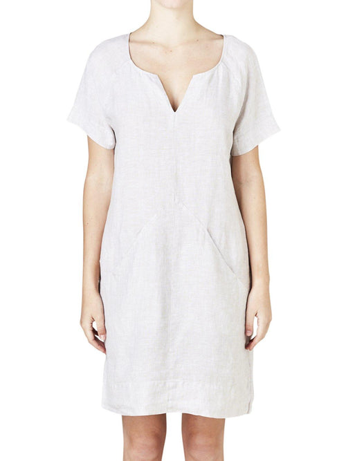 Yeltuor - PING PONG - Dresses - PING PONG LINEN DRESS - OYSTER -  8