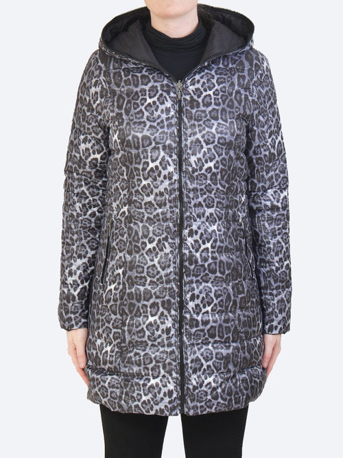 Yeltuor - SABENA - Jackets & Coats - SABENA REVERSIBLE DOWN LONGLINE PUFFER JACKET - ANIMAL PRINT-BLACK -  8