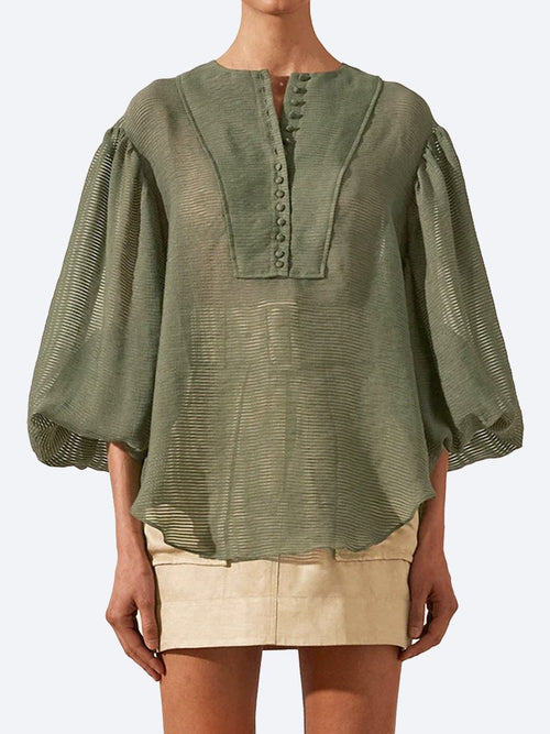 Yeltuor - SHONA JOY - Tops - SHONA JOY CHARLOTTE BALLOON BLOUSE - KHAKI -  -