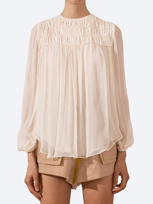 SHONA JOY DELPHINE BALLOON CORDED BLOUSE