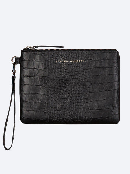 Yeltuor - STATUS ANXIETY - WALLETS - STATUS ANXIETY FIXATION CLUTCH - BLACK CROC -  ALL