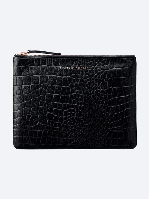 Yeltuor - STATUS ANXIETY - BAGS - STATUS ANXIETY FAKE IT CLUTCH - BLACK CROC -  N/A