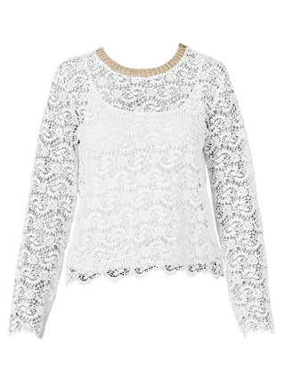 Yeltuor - SUNCOO - Tops - SUNCOO PARIS SOPHIE LACE & LUREX TOP -  -