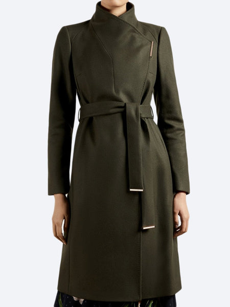 Yeltuor - TED BAKER - Jackets & Coats - TED BAKER ROSE LONG COAT - OLIVE -  1