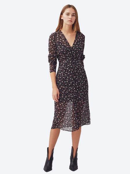 Yeltuor - THE FIFTH - Dresses - THE FIFTH LABEL CURRENT LONG SLEEVE FLORAL MIDI DRESS -  -