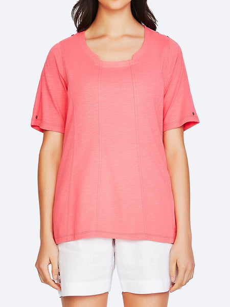 Yeltuor - VERGE - Tops - VERGE BREAK TOP - STRAWBERRY -  XS